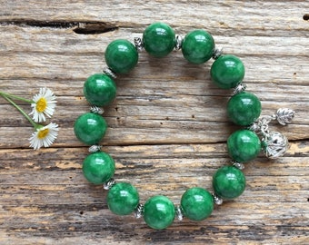 Jade Gemstone & Tibetan Bead Bracelet, Unique gift
