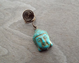 Turquoise Buddha Head Charm Bead Antiques Brass  Dreadlock Accessory Extension Accessories Dread Boho Bohemian Hippie