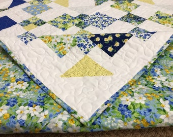 Blue, yellow and white floral handmade large lap quilt. New 100%cotton fabric and batting