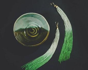 Moss and Kelly Green Ombre Fringe Tassel Earrings Fringed Jade Light Green Long Earrings Shoulder Dusters