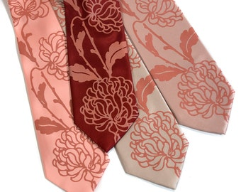 4 custom wedding neckties. Men's ties, groomsmen group discount. Vegan safe microfiber. Shown in our Chrysanthemum silkscreen print.