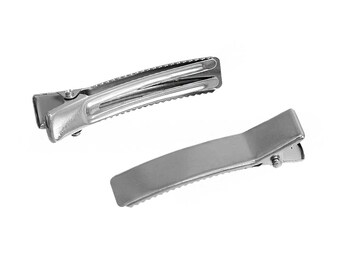 10 Hair Clip Blanks Top Quality Silver Tone Large Size 48mm x 10mm - Z454