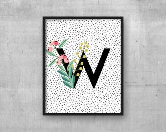 Nursery art decor - Letter W print - Kids room wall art print - Instant download - Letter wall art - Monogram initial Baby nursery poster