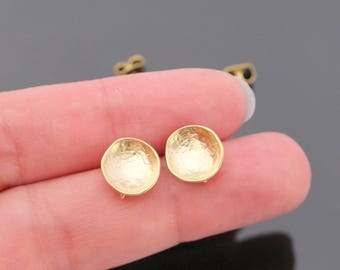 Wholesale Matte Gold Small Round Earrings Findings, Bowl Shaped Earring Connector,  Earring Base Setting, 2 pc, U82937