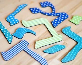 "Hebrew Letters 5"", Hebrew Alphabet, MIX & MATCH - Jewish Baby gift, Nursery, Wooden Hebrew letters, Rosh Hashana, Brit Mila - by isralove"