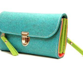 Colorful purse without plastic, plastic-free, made of wool felt, XL plus, 18 cm, bio-degradable, made in Germany, in Germany made