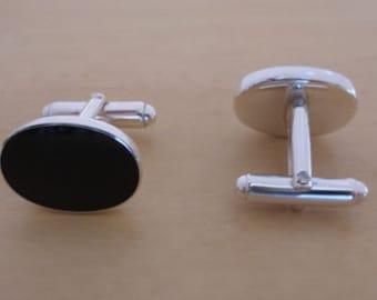 925 Sterling Silver Oval Shaped Black Onyx Stone Classic Swivel Link Cufflinks