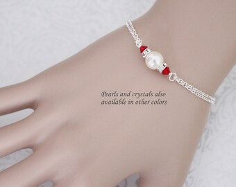 Red Bracelet, Swarovski Ivory Pearl and Red Crystal Bracelet, Bridesmaid Gift, Red Bridesmaid Jewelry, Maid of Honor Gift