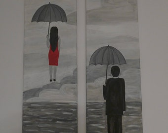 2 paintings, man and woman with umbrellas,handpainted, kamvas, black and white, grey red,