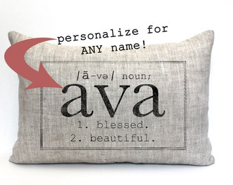 "baby gift, baby pillow, baby shower gift, name definition pillow, nursery decor, personalized pillow, birthday pillow - ""The Ava"""