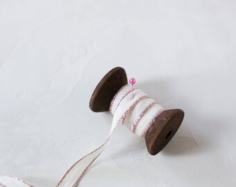 "Natural + Rose Gold Metallic Edge Drittofilo Cotton Ribbon (with Wooden Spool) - 5 yards - 3/8"" wide"