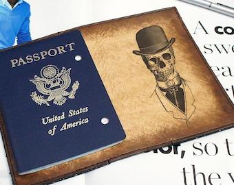 Passport Leather Cover - Skeleton Top Hat - Customizable - Free Personalization