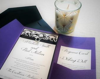 Purple Pocketfold with flocked paper feature Wedding Invitation