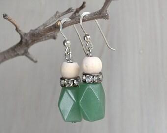 Statement eco friendly earrings/ Stones earrings/ Contemporary earrings/ Nephrite earrings.