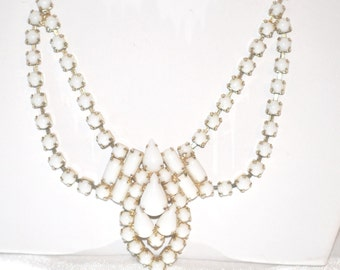 Vintage White Milk Glass Rhinestones in Gold Tone Setting Necklace
