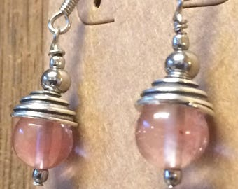 Cherry quartz silver drop earrings