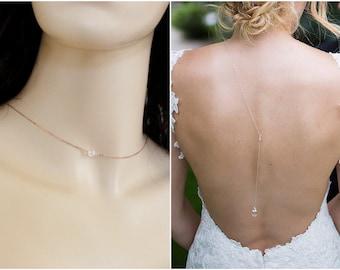 Dainty Bridal Backdrop Necklace Gold, Sterling Silver or Rose Gold, Delicate Wedding Back Drop Necklace, Long Back Necklace with Crystals