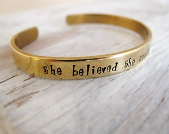 She believed She Could So She Did, Gold Toned Bracelet Cuff, Inspirational, Personalized