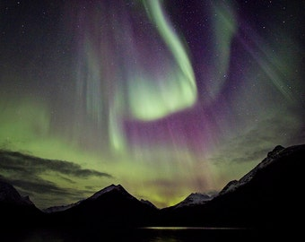 Northern lights beauty, Norway, Nature, Fine art, Affordable home decor, night photography, Northern lights print, Aurora Borelias