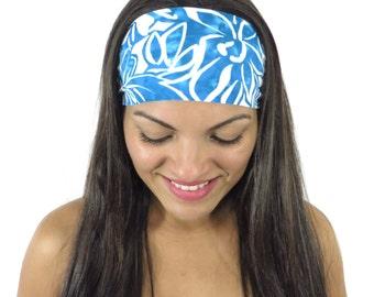 Blue Yoga Headband Moisture Wicking Headband No Slip Headband Running Headband Wide Bohemian Headband Fashion Headband Fitness Headband s186