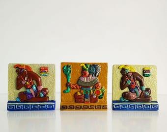 Renato Dorfman Mayan Tiles / Hand painted numbered ceramic tiles