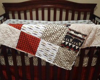 Woodland Baby Boy Crib Bedding - Bear, Trout, Woodgrain, Red Brown Buffalo Check Crib Baby Bedding Ensemble