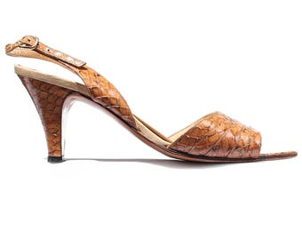 Snakeskin Sandals 70s Real Reptile Leather Animal Slingback Peep Toe Heel Shoes Beige Leather Made in Italy US 6.5 , UK 4 , Eur 37