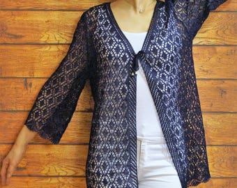 Open knit lace cardigan Blue summer spring jacket Open front cardigan Lace blue cardi Open knit women's jacket Made in Russia