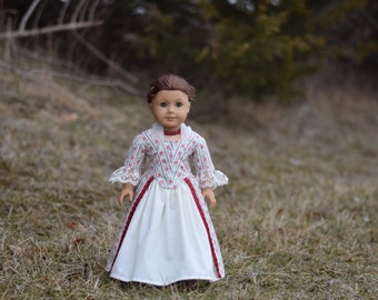 Doll Dress Colonial 4-piece Ensemble for 18'' dolls like American Girl Felicity Elizabeth 1770 En Forreau