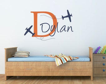 Plane & Boys Name Wall Decal - Airplane Decal with Initial - Personalized Boy Decal - Plane Wall Sticker - Boy Bedroom Decor - Large