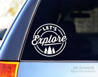 Let's Explore Decal - Explore Outdoors, Vinyl Decal - Outdoor Adventure, Pine Trees - Car Window Decal, Laptop Sticker, Bumper Sticker