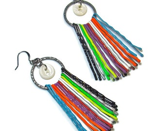 Colorful Up-cycled Tribal Statement Earrings,  Boho Chic, Tribal Jewelry, Multi Colored Dangle Earrings