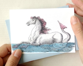 Hippocampus Note Card with Envelope - Mermaid Card