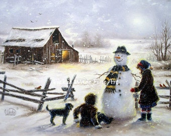 Snowman Art Print snowman paintings, two sisters, two daughters, snow painting, winter barn wall art paintings, Vickie Wade art