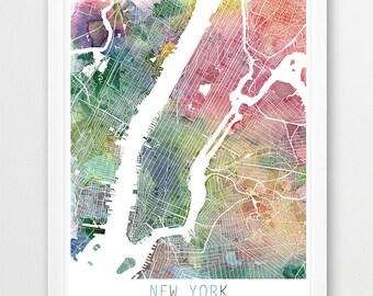 new york city urban map poster new york city street map print watercolor new