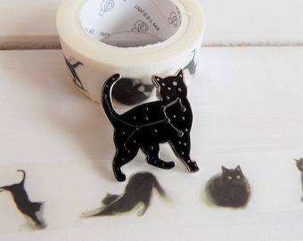 Celestial cat pin and black cat washi tape - Black cat gift set - Felis constellation pin - cat enamel pin - cat stocking filler