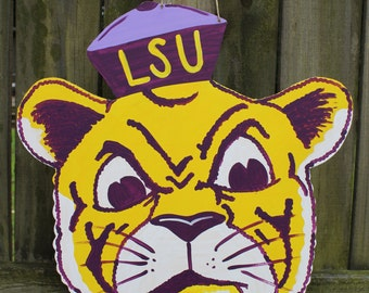 LSU Mike the Tiger Wooden Door Hanger