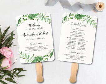 printable wedding fan program greenery wedding program template printable wedding program wedding order of service DIY wedding fan program