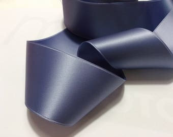 Blue grey satin 50 mm luxury satin ribbon double sided sold by 50 cm very good quality metal blue ribbon
