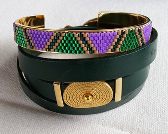 purple green handcuff bracelet and leather combination
