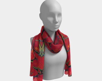 Red Muscle Fiber Wearable Art Scarf