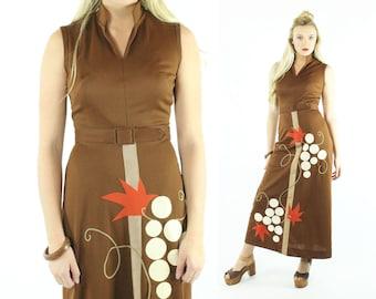 70s Hippie Maxi Dress Grapevine Novelty Sleeveless Brown Long Vintage 1970s Medium M Boho Festival Fashion