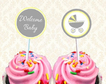 Baby Shower Gender Neutral Cupcake Toppers, Printable Favor Gift Tags, Instant Download Printable Welcome Baby Carriage Stickers Yellow Gray