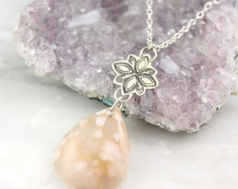 Pink Laguna Lace Agate and Stamped Mehndi Long Silver Necklace