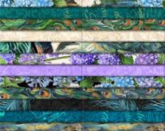 Plumage 2 1/2 Inch Strips Jelly Roll, 40 Pieces, Michael Davis, Wilmington Prints, Precut Fabric, Quilt Fabric, Cotton Fabric, Peacock