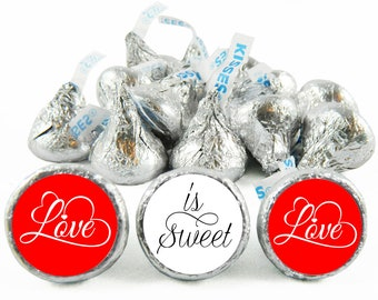 Set of 108 - Love is Sweet Kiss Stickers for Hershey's Kisses. Wedding Labels for Kiss - Wedding Party Favors - #IDWED707