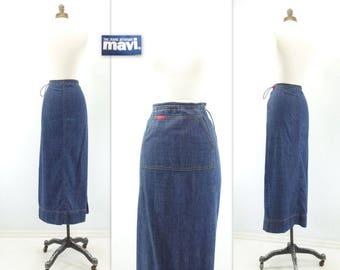 90s Denim Skirt 90s Grunge Skirt Denim Maxi Skirt 90s Straight Skirt Straight Denim Skirt 90s Mavi Skirt Medium m