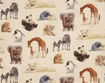 """Animal moms and babies for Elizabeths Studio, animal fabric, novelty cotton, quilting fabric, 43"""" wide, 100% cotton - By the half yard"""