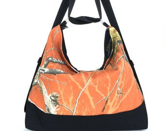 Convertible backpack purse , rusty orange hobo purse , women shoulder bag , hobo bag ,fabric hobo bag ,shoulder strap purse , women backpack