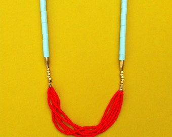 Pop Necklace Red and Turquoise